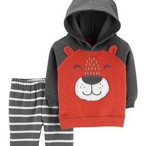 NEW! Carter's Baby Boy Bear Hoodie & Striped Pants